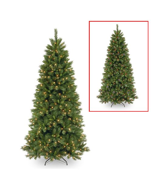 National Tree Company National Tree 7 .5' Lehigh Valley Pine Slim Hinged Tree with 450 Low Voltage Dual LED Lights with 9 Function Footswitch
