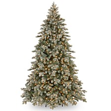 National Tree 7 .5' Poly Frosted Colorado Spruce Hinged Tree with 750 Clear Lights