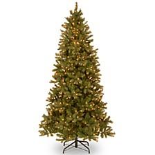 "National Tree 7 .5' ""Feel Real"" Downswept Douglas Slim Fir Hinged Tree with 600 Clear Lights"
