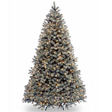 """National Tree 7 .5' """"Feel Real"""" Downswept Douglas Blue Fir Hinged Tree with 750 Clear Lights"""
