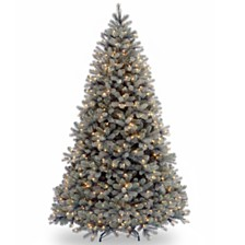 "National Tree 7 .5' ""Feel Real"" Downswept Douglas Blue Fir Hinged Tree with 750 Clear Lights"