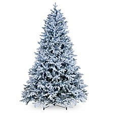 National Tree 7 .5' Feel Real  Snowy Hamilton Spruce Hinged Tree with 750 Cool White LED Lights