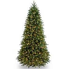 "National Tree 7 .5' ""Feel Real"" Jersey Fraser Slim Fir Hinged Tree with 800 Clear Lights"