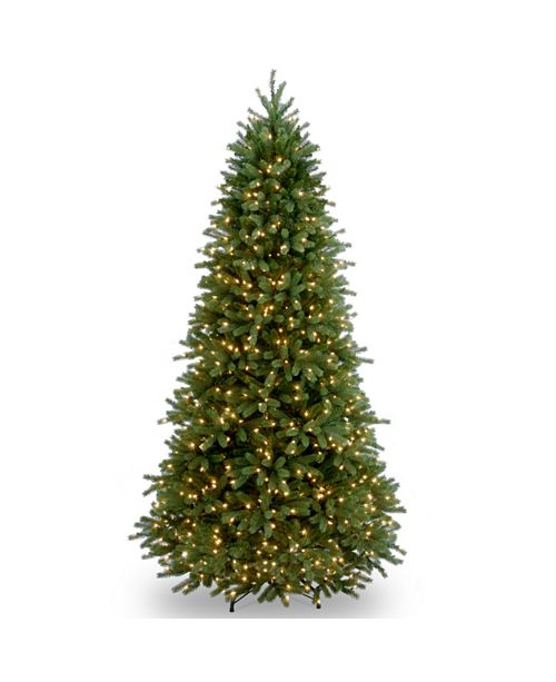 """National Tree Company National Tree 7 .5' """"Feel Real"""" Jersey Fraser Slim Fir Hinged Tree with 800 Clear Lights"""