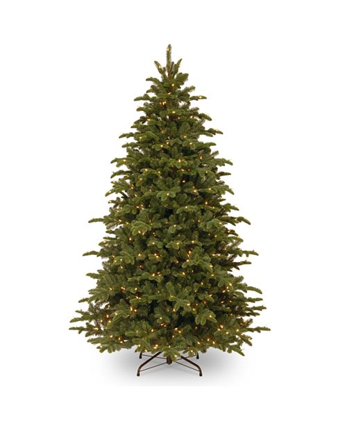 "National Tree Company National Tree 7 .5' ""Feel Real"" Mountain Noble Blue Spruce Hinged Tree with 750 Clear Lights"