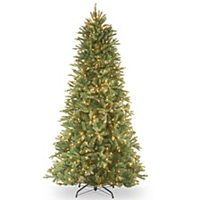 "National Tree 6 .5' ""Feel Real"" Tiffany Fir Slim Hinged Tree with 500 Clear Lights"