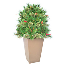 "National Tree Company 36"" Glistening Pine Porch Bush with Pine Cones, Red Berries, Twigs & 70 Clear Lights"