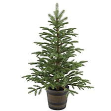 4' Feel Real(R) PE Norwegian Spruce Entrance Trees in Wiskey Barrel Pot