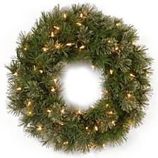 "24"" Atlanta Spruce Wreath with 50 Clear Lights"