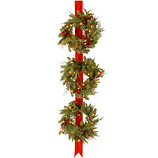 "National Tree Company Decorative Collection Triple Wreath Door Hang with 3 18"" Wreaths,each with 50 Clear Lights-UL-77"" Ribbon Height"