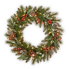 "24"" Frosted Pine Berry Collection Wreaths with Cones, Red Berries, Silver Glittered Eucalyptus Leaves & Warm White Battery Operated LED Lights with Timer"