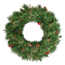 "National Tree Company 30"" Glistening Pine Wreath with Pine Cones, Red Berries, Twigs & 50 Warm White Battery Operated LED Lights w/Timer"
