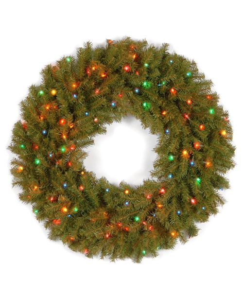 "National Tree Company 36"" Norwood Fir Wreath with 100 Multi Lights"