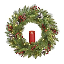 "National Tree Company 24"" Feel Real®  Bristle Berry Wreath with  50 Battery Operated LED lights,  Red Electronic Candle  Red Berries &  Cones"