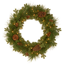 "National Tree Company 24"" Feel Real(R) Eastwood Spruce Wreath with 18 Mixed Pine Cones & 50 Warm White Battery Operated LED Lights with Timer"