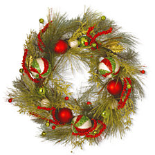 """National Tree Company 30"""" Christmas Ornament Wreath with Red & Green"""