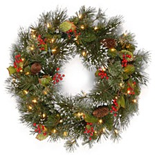 "24"" Wintry Pine Wreath with Cones, Red Berries, Snowflakes with 50 Battery Operated soft White LED Lights"