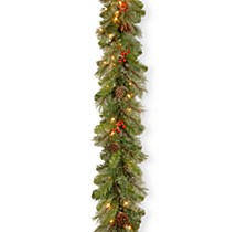 "9'x12"" Cashmere Berry Collection Garland with 11 Cones, 11 Red Berries & 70 Clear Lights"