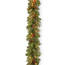 "National Tree Company 9'x12"" Cashmere Berry Collection Garland with 11 Cones, 11 Red Berries & 70 Clear Lights"