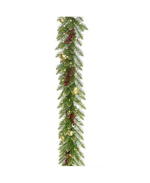 "National Tree Company 9'x 10"" Glittery Gold Dunhill®  Fir Garland w/ Red Berries, Gold Edged Cones, Gold Ornaments & Warm White Battery Operated LED Lights w/Timer"