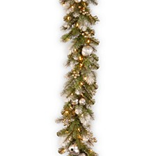 9' Glittery Pomegranate Pine Garland with Silver Pomegranates,Champagne Berries Frosted Tips and 100 Clear Lights