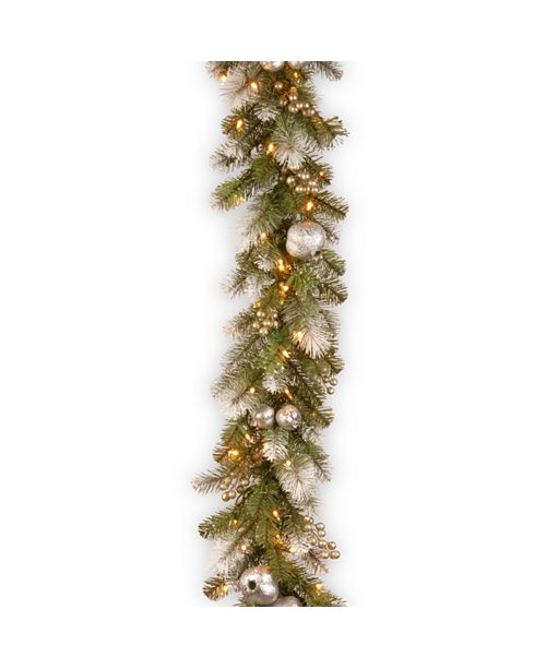 National Tree Company 9' Glittery Pomegranate Pine Garland with Silver Pomegranates,Champagne Berries Frosted Tips and 100 Clear Lights