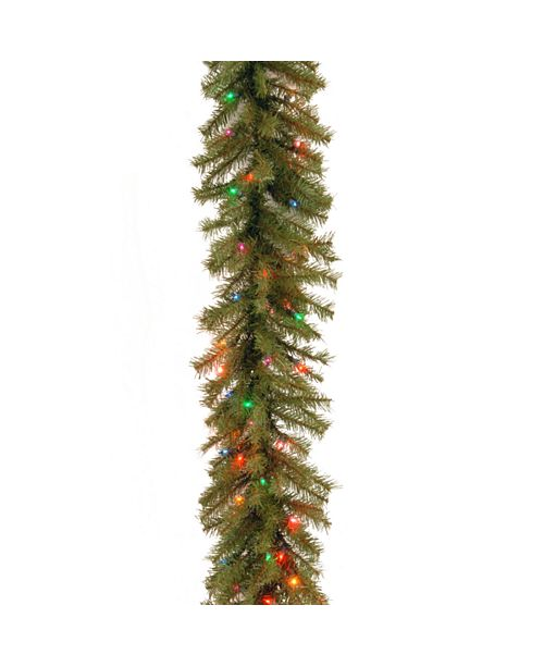 """National Tree Company National Tree 9' x 10"""" Norwood Fir Garland with 50 Battery operated Multi 4-Color LED Lights"""