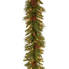 "National Tree Company 9' x 10"" Pine Cone Garland with 50 Clear Lights-UL"