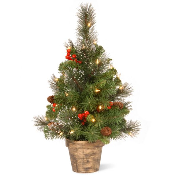 National Tree Company 2' Crestwood Spruce Small Tree with Silver Bristle, Cones, Red Berries and Glitter in a Plastic Bronze Pot with 35 Clear Lights