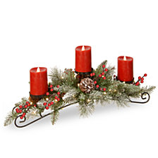 "National Tree Company 30"" Feel Real®  Snowy Bristle    Centerpiece with 3 electronic candles, battery operated lights, berries and cones"