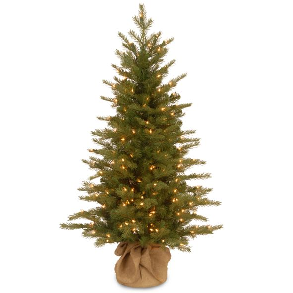 """National Tree Company National Tree 4' """"Feel Real"""" Nordic Spruce Small Tree in Burlap with 200 Clear Lights"""