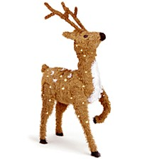 "36"" Creative Images Brown Prancing Reindeer with Spots and 150 Clear Lights"