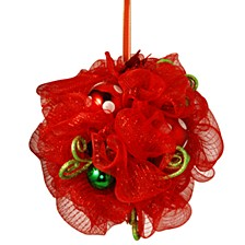 "16"" Decorative Collection Red Ribbon Kissing Ball"