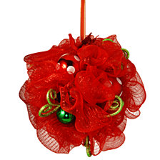 "National Tree Company 16"" Decorative Collection Red Ribbon Kissing Ball"