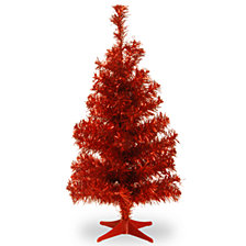 National Tree 3 ft. Red Tinsel Tree