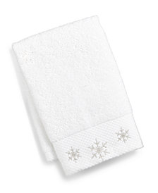 Martha Stewart Collection Snowflake Cotton Embroidered 2-Pc. Fingertip Towel Set, Created for Macy's