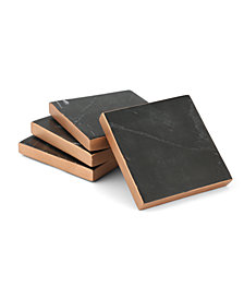 Thirstystone Set of 4 Black Marble Coasters with Copper Trim Finish