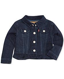 Levi's® Infant Girls Ruffle Trim Denim Trucker Jacket