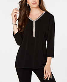 JM Collection Petite Embellished-Neck Top, Created for Macy's