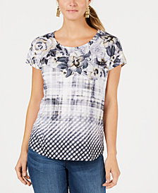 Style & Co Petite Mixed-Print Top, Created for Macy's