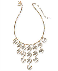 "Thalia Sodi Gold-Tone Crystal Tiger Stripe Disc Statement Necklace, 16"" + 3"" extender, Created for Macy's"