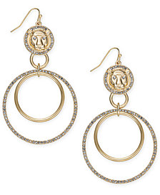 "Thalia Sodi Extra Large Gold-Tone Lion Crystal Double Drop Earrings 3.5"", Created for Macy's"