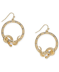 "Thalia Sodi Medium Gold-Tone Crystal & Imitation Pearl Snake Drop Hoop Earrings 1.5"", Created for Macy's"