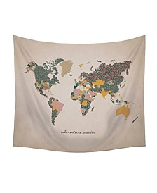 "Stratton Home Decor ""Adventure Await"" Map Wall Tapestry"