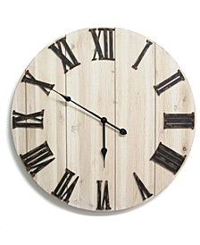 Stratton Home Decor Distressed White Wood Wall Clock