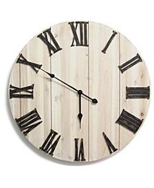 Stratton Home Decor Distressed White Wood Wall Clock
