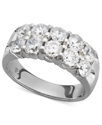 TwoRow Certified Diamond Band Ring in 14k White Gold 2 ct tw