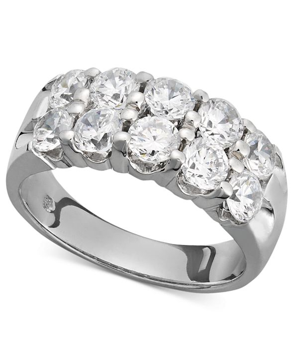 Macy's Two-Row Certified Diamond Band Ring in 14k White Gold (2 ct. t.w.)