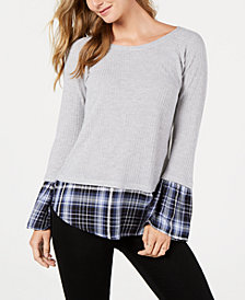Style & Co Contrasting Hem & Cuff Top, Created for Macy's