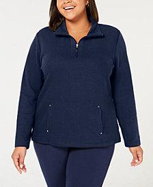 Karen Scott Plus Size Half-Zip Sweatshirt, Created for Macy's